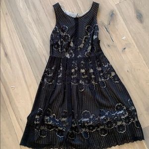 Free People black lace with tan lining dress